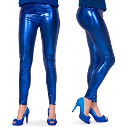 Legging metallic blauw