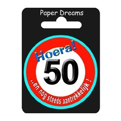 Button verkeersbord - 50 jaar