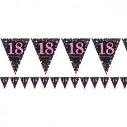 Vlaggenlijn 18 met roze glitters