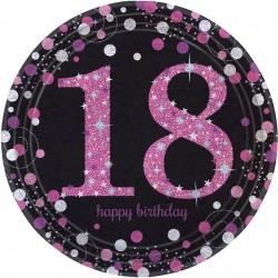 Folieballon 18 zwart met metallic roze