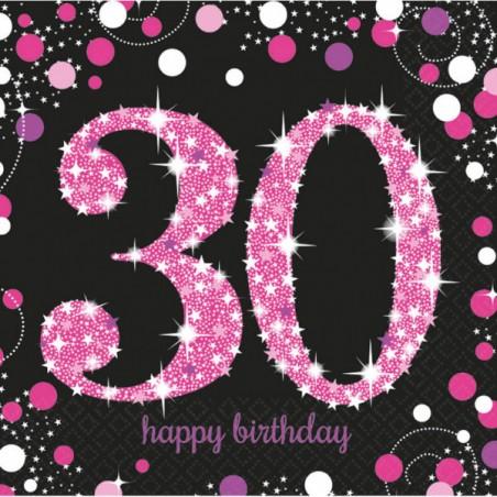 Servetten 30 zwart met roze