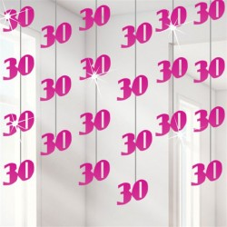 String decoratie 30 metallic roze