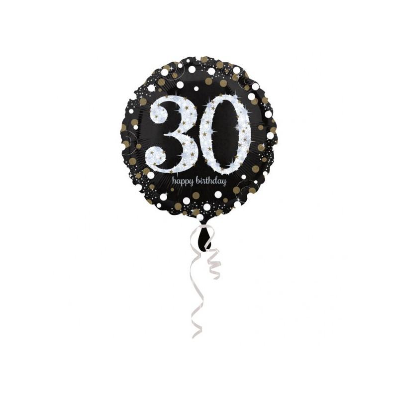 Folieballon 30 metallic zilver met goud