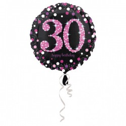 Folieballon 30 metallic roze