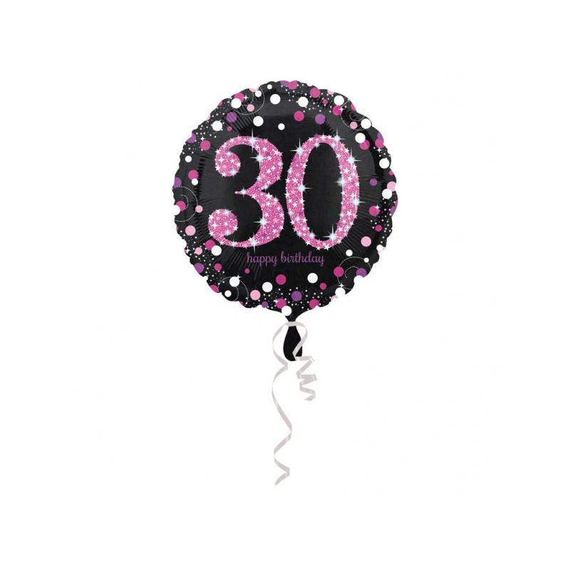 Folieballon 30 metallic roze