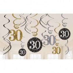 Swirls decoraties 30 metallic zilver met goud