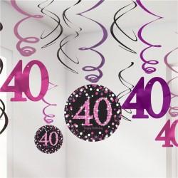 Swirl decoraties 40 metallic roze