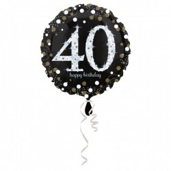 Folieballon 40 metallic zilver en goud