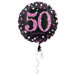 Folieballon 50 metallic roze