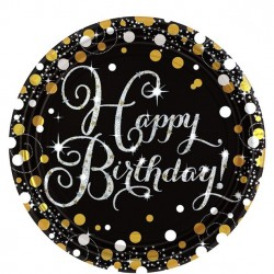 Borden Happy Birthday metallic zilver met goud