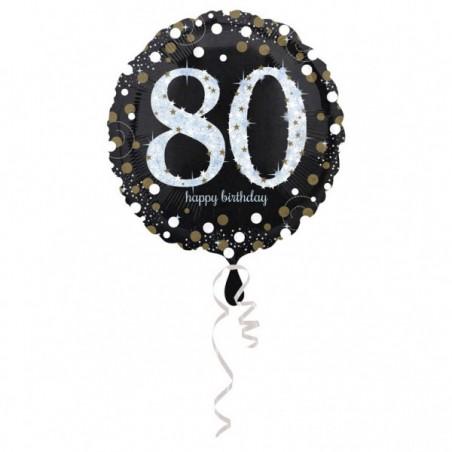Folieballon 80 zilver met goud