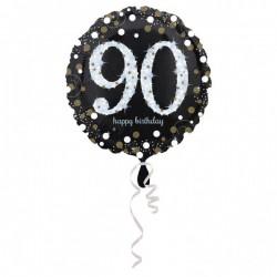 Folieballon 90 zilver met goud