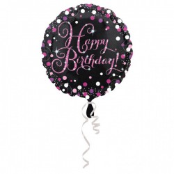 Folieballon Happy Birthday zwart met roze