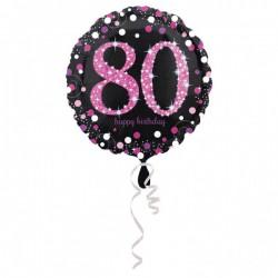 Folieballon 80 zwart met roze