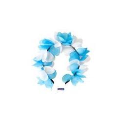 Tiara bloemen oktoberfest blauw/wit