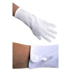 Handschoenen wit katoen met drukknoopje