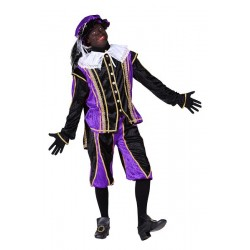 Zwarte piet kostuum paars-zwart