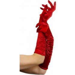 Handschoenen rood met plooitjes