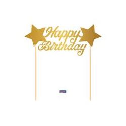 taart topper 'happy birthday' goud