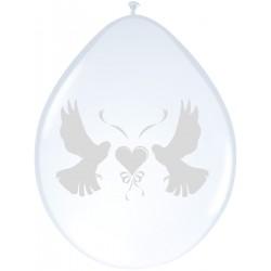 Ballonnen wit met duifjes