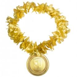 Hawaikrans goud met hanger 50