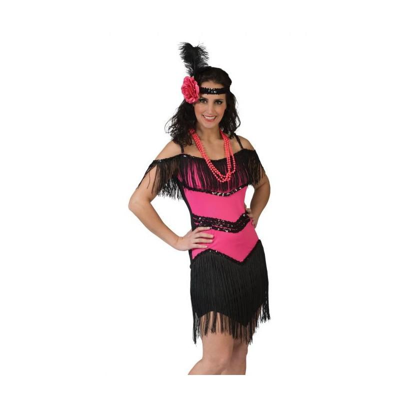 Charleston jurk fuchsia roze met hoofdband