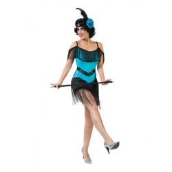 Charleston jurk blauw met hoofdband