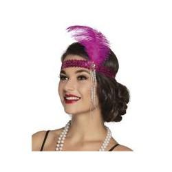 Charleston hoofdband met veer roze