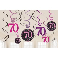 Swirl decoraties 70 metallic roze