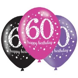 Ballonnen 60 roze, paars en zwart