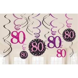 Swirl decoraties 80 metallic roze