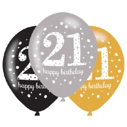 Ballonnen 21 zilver, goud en zwart