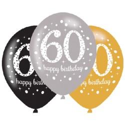 Ballonnen 60 zilver, goud en zwart