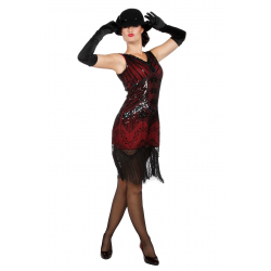 Charleston jurk rood/zwart