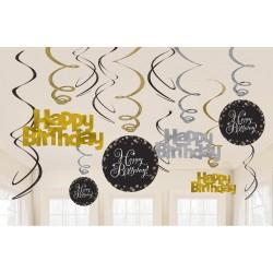 Swirl decoratie goud/zilver/zwart
