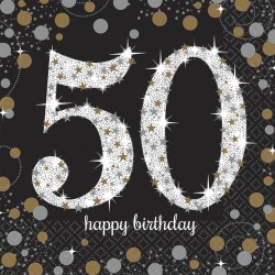 Servetten Happy Birthday 50 jaar goud