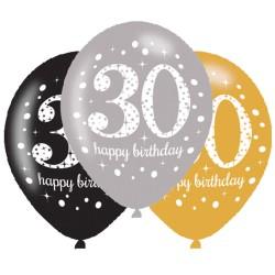 Ballonnen 30 zilver, goud en zwart