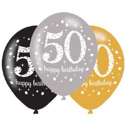 Ballonnen 50 zilver, goud en zwart
