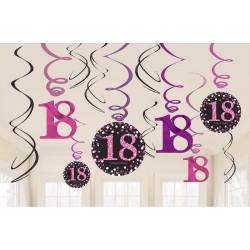 Swirl decoraties 18 metallic roze