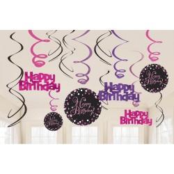 Swirl decoraties Happy Birthday metallic roze