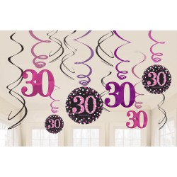 Swirl decoraties 30 metallic roze