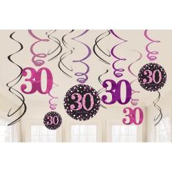 Swirl decoraties 30 metallic roze