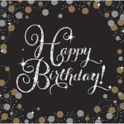 Servetten Happy Birthday metallic goud