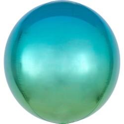 Heliumballon rond blauw/groen