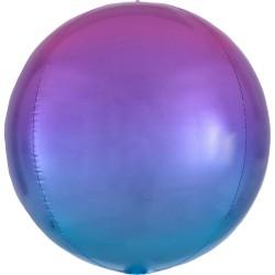 Heliumballon rond roze/blauw