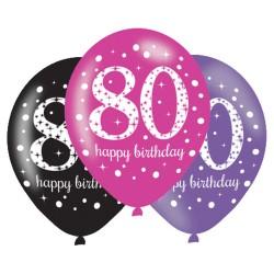 Ballonnen 80 roze, paars en zwart
