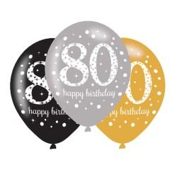 Ballonnen 80 zilver, goud, zwart