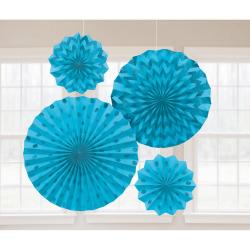 Decoratie fans glitter caribbean blue