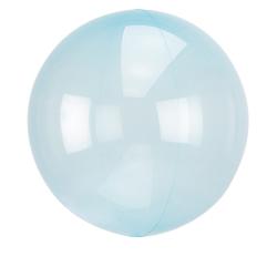 Heliumballon rond doorzichtig blauw