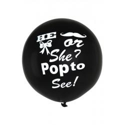 Grote zwarte ballon He Or She
